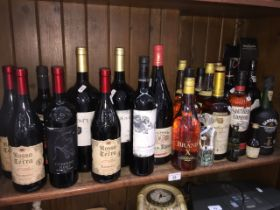 A large collection of alcoholic beverages to include wine, brandy, whiskey, port - 20 + 3