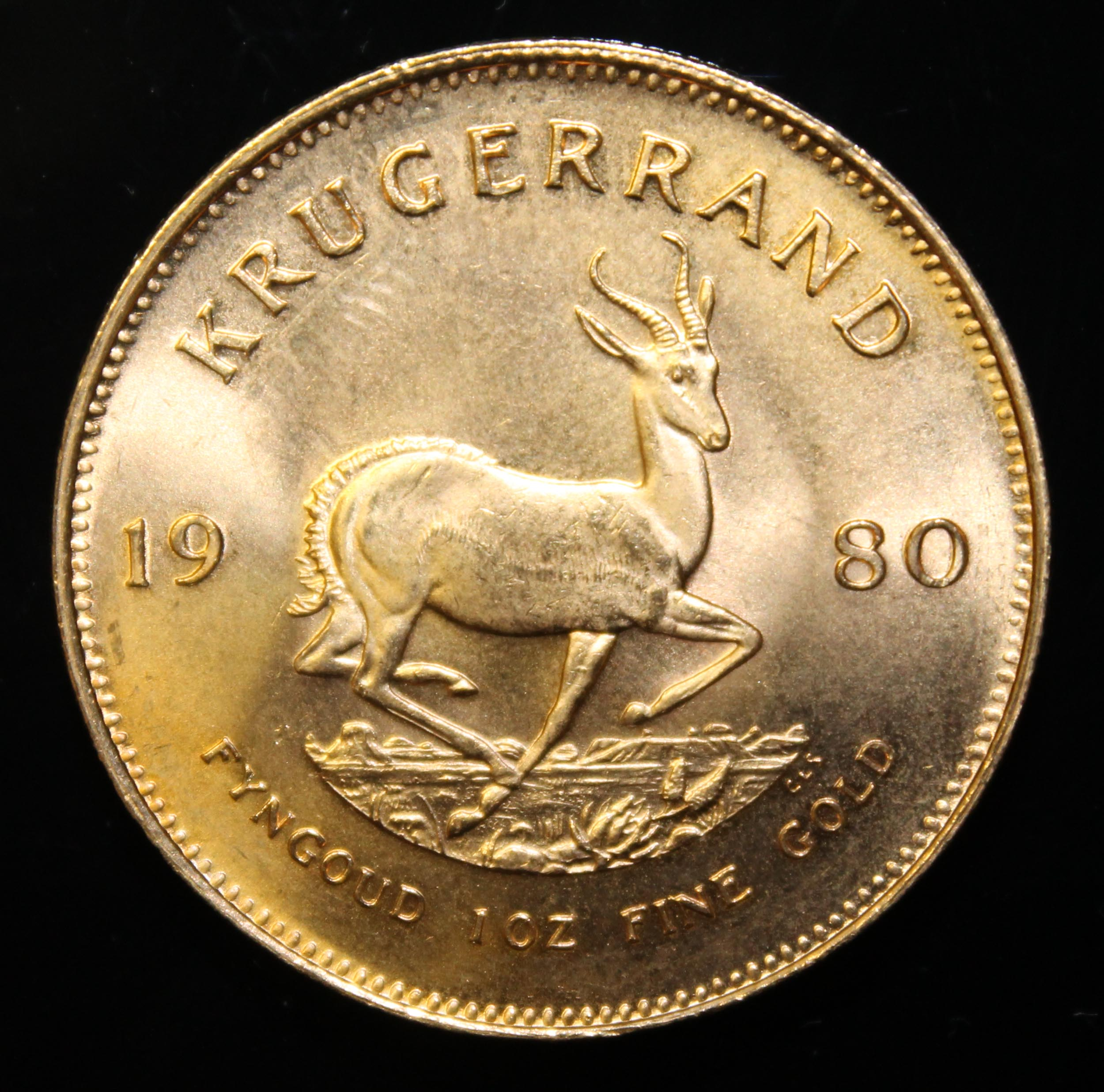 South Africa, 1980 Krugerrand, 1 oz. fine gold (91.67%) ONLY 10% BUYER'S PREMIUM (INCLUSIVE OF - Image 2 of 2