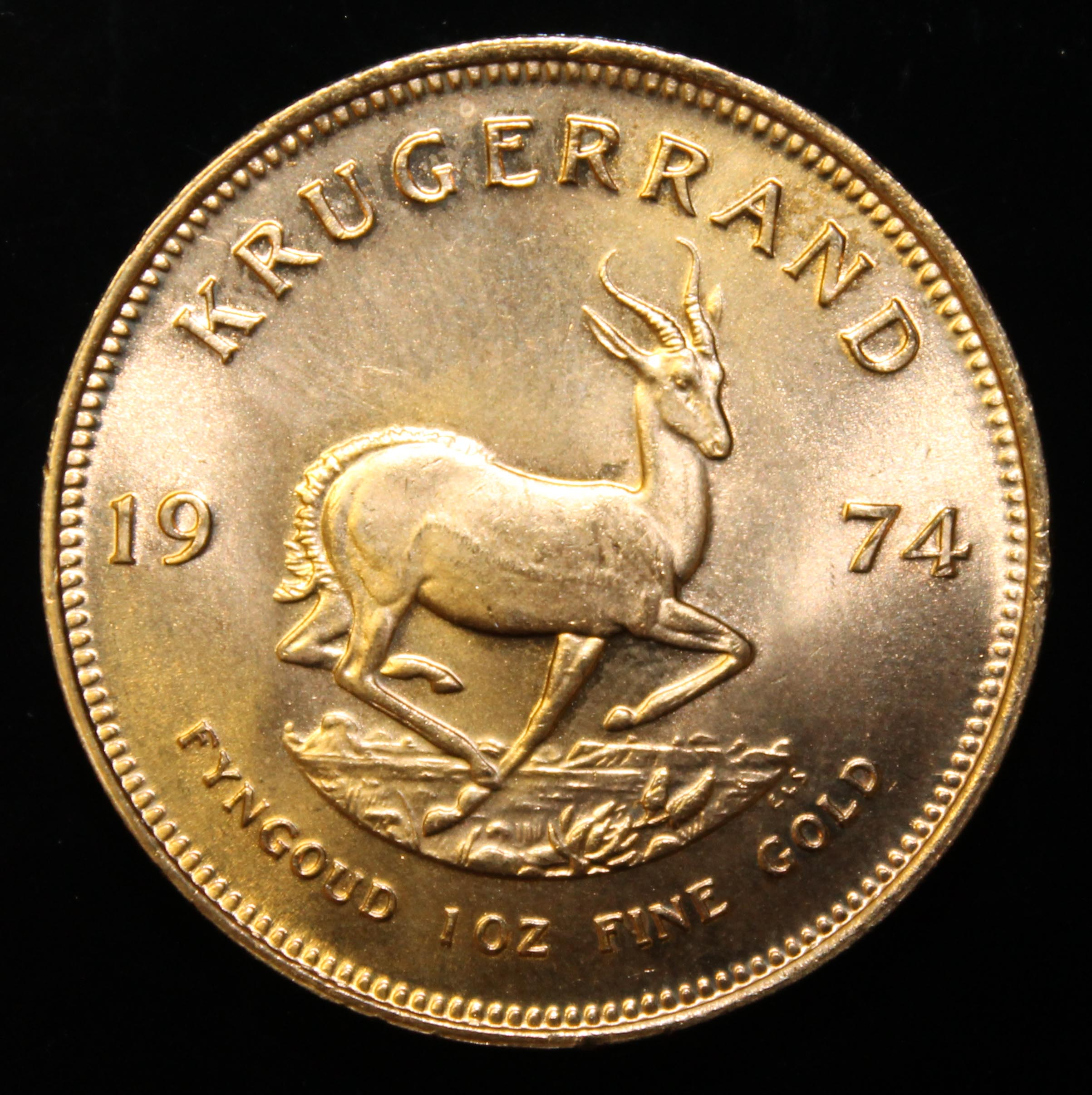 South Africa, 1974 Krugerrand, 1 oz. fine gold (91.67%) ONLY 10% BUYER'S PREMIUM (INCLUSIVE OF - Image 2 of 2