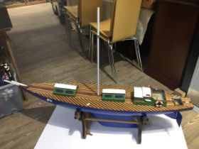 Model Yacht on stand, length approx 140 cm