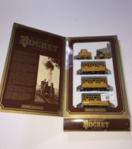 A Hornby Stephenson's Rocket set (metal wheels), loco, tender and 3 carraiges, boxed.