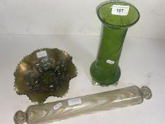 Antique Art Nouveau Wrythen glass vase, Nailsea rolling pin, carnival glass.
