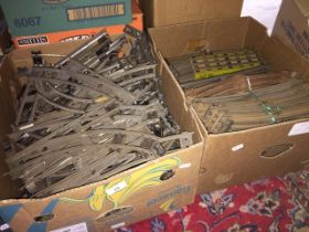 Two large boxes of Hornby 0 gauge 2/3 rail track and points