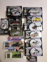 A box containing mainly Corgi Classics James Bond 007 Collection - 10 items, some duplicated. Also
