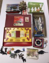 Various vintage toys including Lynx model construction set, die cast model ships and trains,