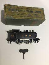 A boxed Bassett-Lowke Ltd Four Coupled Tank Loco clockwork 0 gauge model engine.