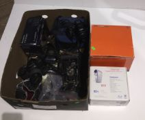 A box of cmaers and camera equipment to include a Minolta SR T 100b, a Yashica 108, a Lumix F 2.8, a