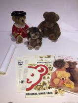 A Harrods teddy bear in Beefeater costume, seated, approx 27cm, and a Gund brown bear wearing tartan