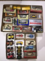 Two trays of diecast model vehicles including Corgi, Matchbox etc