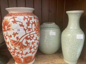 An Oriental vase and 2 Celadon vases.