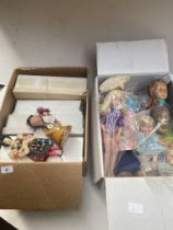 2 boxes of misc dolls - various ages ( 60's - 80's, etc ).
