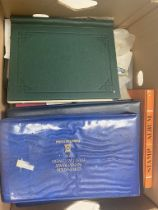 A box of stamps and stamp albums etc