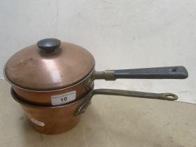 Two copper pans