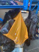 A fur coat, a fur cape and 4 handbags.