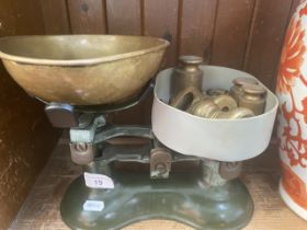A set of vintage scales with weights