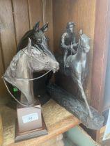 3 composite model race horses.