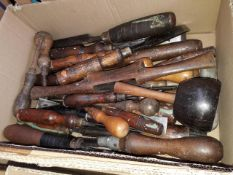 A box of vintage wood working tools, chisels etc.