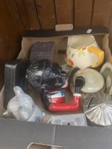 A box of collectables to include antique money boxes, Wedgwood pieces and a Crown Ducal jug etc.