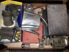 A box of metalware including a pewter tea caddy and other antique pewter, silver plated ware etc.