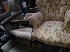 A button backed chair and a spindle back chair.