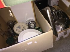 2 boxes of stainless steel products, large Royal Doulton platter, fish platter, etc.