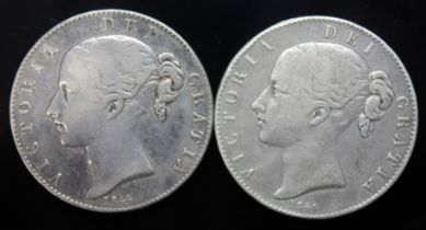 Victoria (1837-1901), two crowns, 1844, one star stops & one cinq stops.