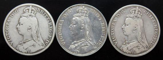 Victoria (1837-1901), three crowns, 1891.