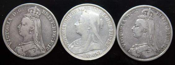Victoria (1837-1901), three crowns, 2 x 1892 and 1 x 1897.