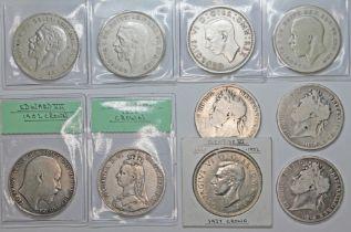 Ten crowns comprising George IIII 2 x 1821, 1 x 1822, Victoria 1 x 1888, Edward VII 1 x 1902, George