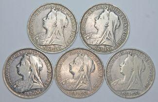 Victoria (1837-1901), five crowns, 1896.