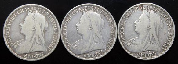 Victoria (1837-1901), three crowns, 1898.