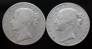 Victoria (1837-1901), two crowns, 1844, star stops.