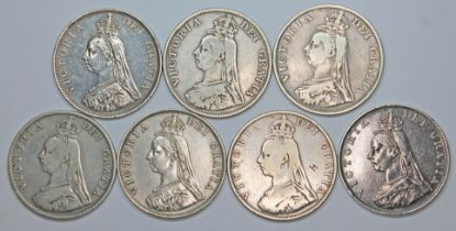 Victoria (1837-1901), seven double florins including two Arabic 1, 1887.