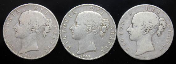 Victoria (1837-1901), three crowns, 1845, cinq stops.