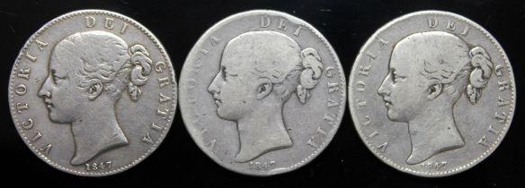 Victoria (1837-1901), three crowns, 1847, 2 cinq stops.