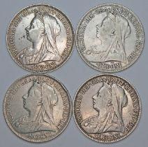 Victoria (1837-1901), four crowns, 1895.