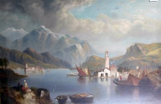 Continental school, late 19th/early 20th century, lake scene, oil on canvas, 81cm x 56cm, framed and