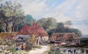 Attributed to James Price (b.1818), farm scene with woman and cattle, watercolour, 52cm x 37.5cm,