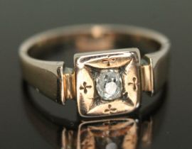 An antique diamond ring, the Old European oval stone weighing approx. 0.24 carats, band unmarked,
