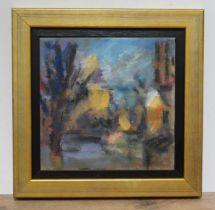 """Ghislaine Howard (b1953), """"Winter Light Glossop"""", oil on hessian, 35cm x 35cm, signed, dated 1989"""