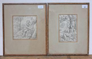Simone Cantarini (1612-1648), St John Baptist and St Sebastian, Old Master engravings, 16.5cm x 16cm