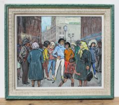 Patience Arnold (1901-1992), 'Kiss me quick', oil on board, 59cm x 49cm, framed.