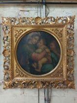 After Rafael, 19th century, oil on canvas, 'Madonna Della Sedia', diameter 38.5cm, ornate gilt
