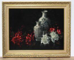 Robert Tuson, 20th century school, 'Chinese Vases', oil on velvet, 59.5cm x 44.5cm, signed 'Tuson'