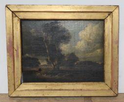 English 18th century school, landscape scene, oil on canvas, 25cm x 19cm, gilt frame.