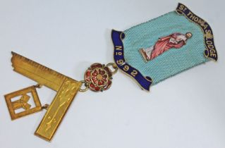 A 15ct gold and enamel Masonic masonic medal, grpss wt. 23.21g. All pieces marked '15.625' accept