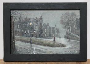 Steven Scholes (born 1952), 'Holly Bush Hill, Hampstead, London 1962', oil on canvas, 29cmx 19cm,