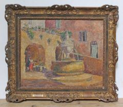 Toty Fauchet (French), street scene with fountain, oil on canvas, 63cm x52cm, signed lower right,