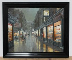 Steven Scholes (born 1952), 'Shepherd Market, Mayfair, London 1958', oil on canvas, 49.5cm x 39.5cm,