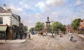 John Lewis Chapman (born 1946), Lytham Square, Lytham St Annes, gouache, 20cm x 34cm, signed to